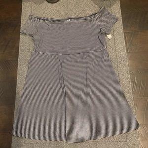 Stripped Off the Shoulder Flare Dress